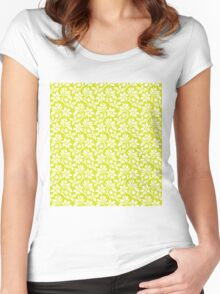 Chartreuse Vintage Wallpaper Style Flower Patterns Women's Fitted Scoop T-Shirt