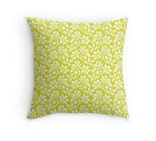 Chartreuse Vintage Wallpaper Style Flower Patterns Throw Pillow