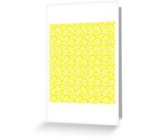 Yellow Vintage Wallpaper Style Flower Patterns Greeting Card