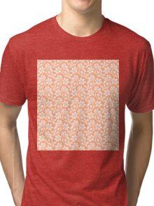 Peach Vintage Wallpaper Style Flower Patterns Tri-blend T-Shirt