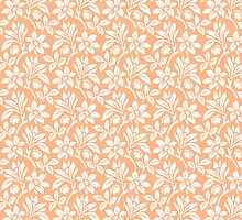 Peach Vintage Wallpaper Style Flower Patterns by ImageNugget