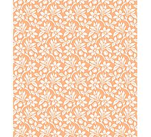 Peach Vintage Wallpaper Style Flower Patterns Photographic Print