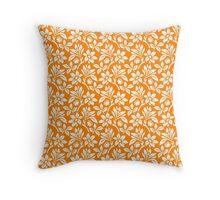Orange Vintage Wallpaper Style Flower Patterns Throw Pillow