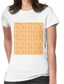 Orange Vintage Wallpaper Style Flower Patterns Womens Fitted T-Shirt
