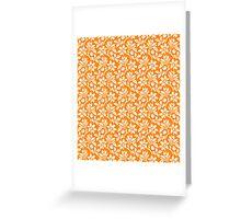 Orange Vintage Wallpaper Style Flower Patterns Greeting Card