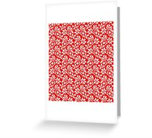 Red Vintage Wallpaper Style Flower Patterns Greeting Card