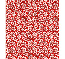 Red Vintage Wallpaper Style Flower Patterns Photographic Print