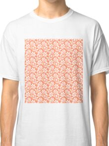 Coral Vintage Wallpaper Style Flower Patterns Classic T-Shirt