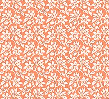 Coral Vintage Wallpaper Style Flower Patterns by ImageNugget