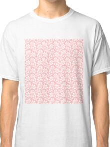 Light Pink Vintage Wallpaper Style Flower Patterns Classic T-Shirt