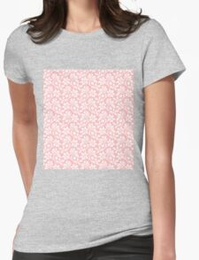 Light Pink Vintage Wallpaper Style Flower Patterns Womens Fitted T-Shirt