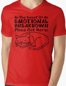 Emotional Breakdown Place Cat Here Mens V-Neck T-Shirt