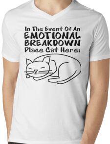 Emotional Breakdown Place Cat Here Mens V-Neck T-Shirt