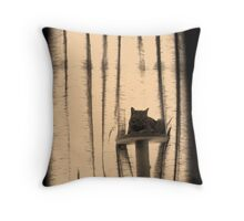 ginger cat on cat tree Throw Pillow