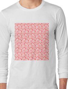 Pink Vintage Wallpaper Style Flower Patterns Long Sleeve T-Shirt