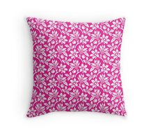 Hot Pink Vintage Wallpaper Style Flower Patterns Throw Pillow
