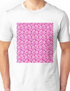 Hot Pink Vintage Wallpaper Style Flower Patterns Unisex T-Shirt