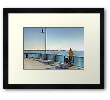 Fishing in the cold Framed Print
