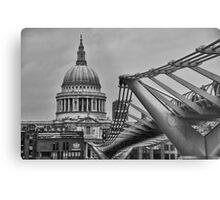 St Paul's Cathedral and Millennium Bridge Metal Print