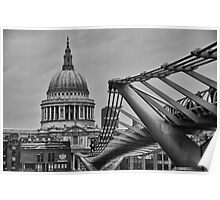 St Paul's Cathedral and Millennium Bridge Poster