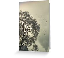 Flocking - Starlings and Frost Greeting Card