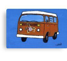 Orange VW camper Canvas Print