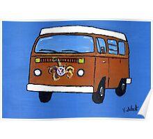 Orange VW camper Poster