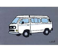 White VW Camper Photographic Print