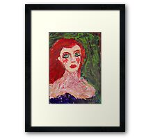 girl with red lips, 2010 Framed Print