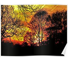 Blazing Red Sunset Poster