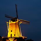 Wind mill in the evening by Willem Hoekstra