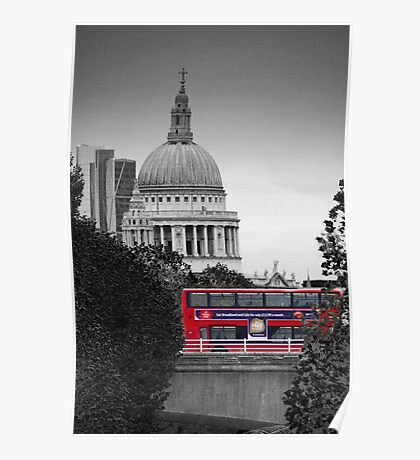 St Pauls and Bus Poster