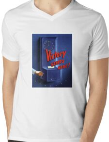 Victory Starts Here! -- WWII Mens V-Neck T-Shirt