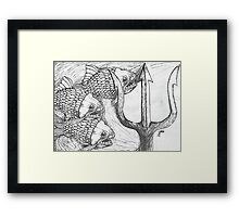Fish and Trident Framed Print
