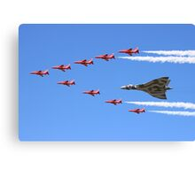 Final Vulcan flight with the Red Arrows 8 Canvas Print