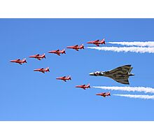 Final Vulcan flight with the Red Arrows 8 Photographic Print