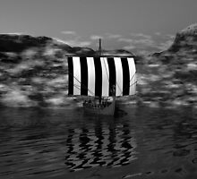 Ancestors on The Dark Fjord - B&W by Sazzart