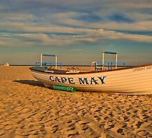 Lifeboat at sunset by Sally Kady