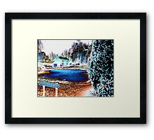 Psychedelic village pond Framed Print