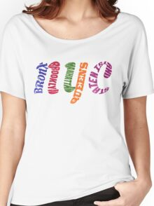 New York City Five Boroughs Typography Women's Relaxed Fit T-Shirt