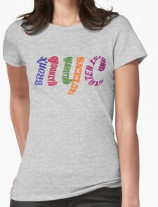 New York City Five Boroughs Typography Womens Fitted T-Shirt
