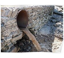 Dirty water flows from a brown rusty sewer pipes Poster