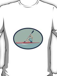 Kayak Racing Canoe Sprint Oval Retro T-Shirt