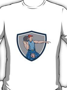 Highland Games Stone Put Throw Crest Retro T-Shirt