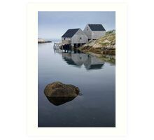Peggys Cove Fishermans Wharf with Rock Art Print