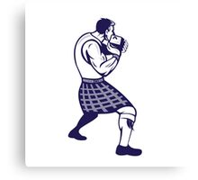 Scotsman Weight Throw Isolated Retro Canvas Print