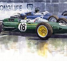 French GP 1963 Start Lotus vs BRM by Yuriy Shevchuk