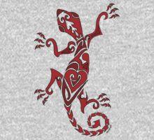 Lizard Tattoo Red One Piece - Short Sleeve