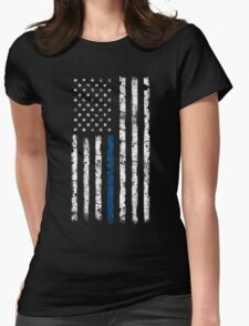 Blue Line (White) V2 Vertical Womens Fitted T-Shirt