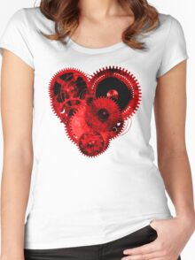 Steampunk Gears Red Heart Women's Fitted Scoop T-Shirt